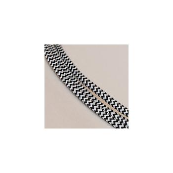 TExtile cable nr. 120, must-valge siksak, 1m