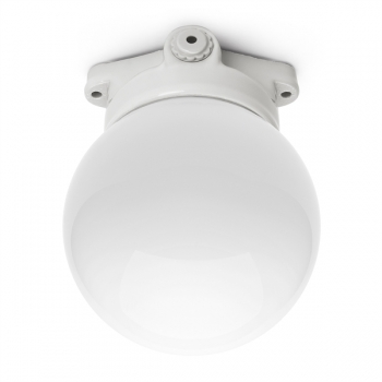 LISILUX ceiling-mounted fitting with opal glass globe 100 W