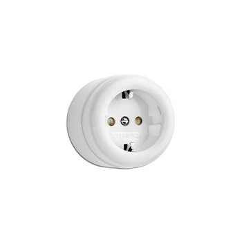 Surface-mounted outlet with child protection duroplast