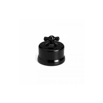Switch, porcelain switch, black Fontini