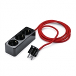 Triple socket with protective earthconnection with angled plug, duroplast black