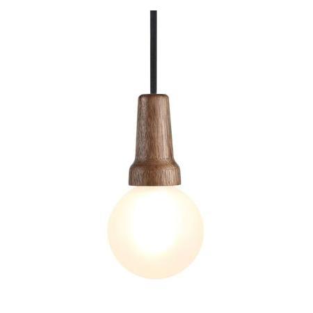 Puidust sokliga lamp, viimistlus pähkel, must tekstiiljuhe 3m